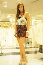 heels Forever 21 shoes - printed Forever 21 shorts - printed Forever 21 top