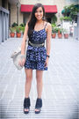 Blue-forever-21-dress-black-forever-21-shoes-gray-purse-silver-mafia-acces