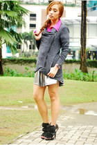black heels Zara shoes - magenta polo shirt Zara top - gray Forever 21 cardigan