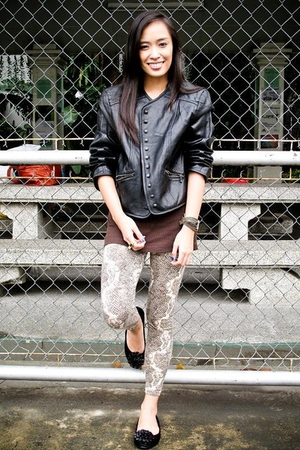 black lovevintage jacket - brown Topshop top - brown Bazaar leggings - black Baz