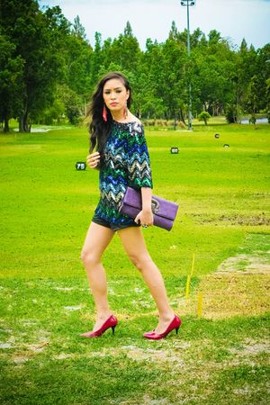 black bought online dress - black Zara shorts - red Manels shoes - purple Manels