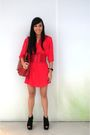 Red-bought-from-a-bazaar-dress-red-department-store-belt-black-topshop-shoes