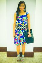 blue bought from a bazaar dress - black Zara belt - silver bought online shoes -