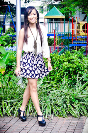 beige Forever 21 dress - blue Forever 21 skirt - black Forever 21 shoes
