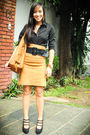 Black-zara-top-brown-zara-skirt-black-zara-belt-brown-zara-purse