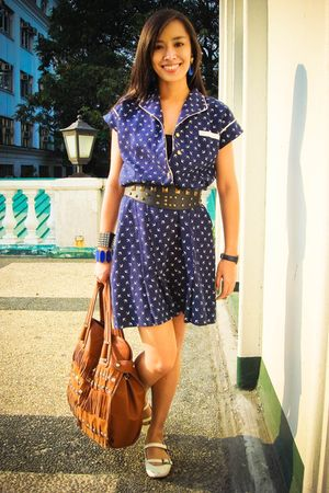 blue crossings dress - white Charles & Keith shoes - brown accessories - blue vi