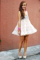 pink lace SM skirt - pink Topshop top