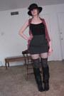Black-fish-net-target-tights-gray-cotton-kohls-socks-pink-pleated-duo-blouse