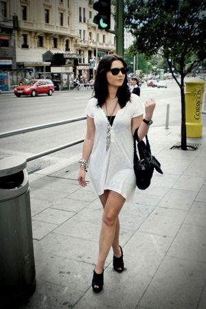 white H&M dress - black shoes - black purse - black Ray ban  vintage glasses