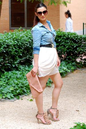 bubble gum BLANCO bag - sky blue H&M blouse - light pink H&M skirt - black Acces