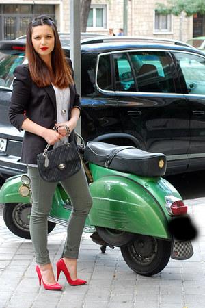 ruby red Bershka heels - dark khaki H&M leggings - black Zara blazer