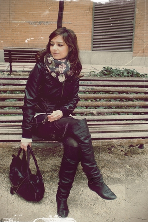 black over knee hazel boots - black Mango dress - black BLANCO jacket