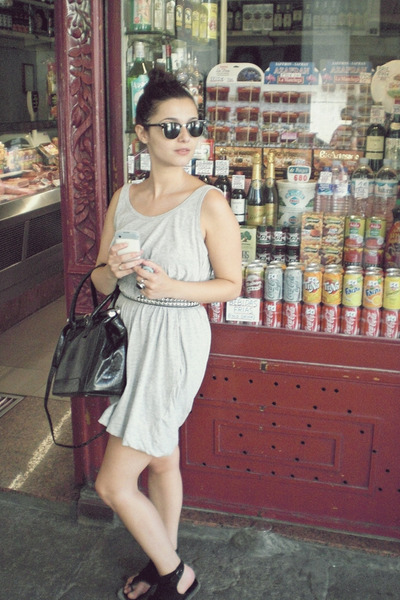 black unknown brand bag - gray H&M dress - black H&M belt - Ray Ban earrings