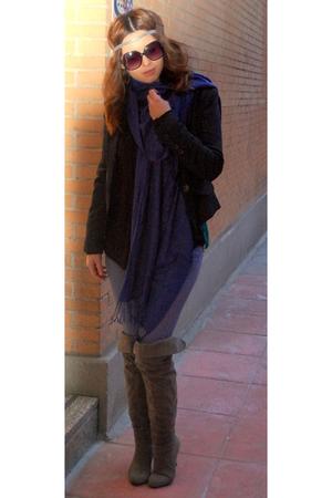 gray BLANCO boots - blue BLANCO jeans - blue Mango jacket - black Stradivarius g