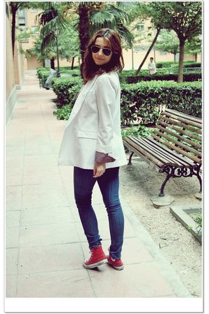 white Primark blazer - Zara leggings - red Converse shoes