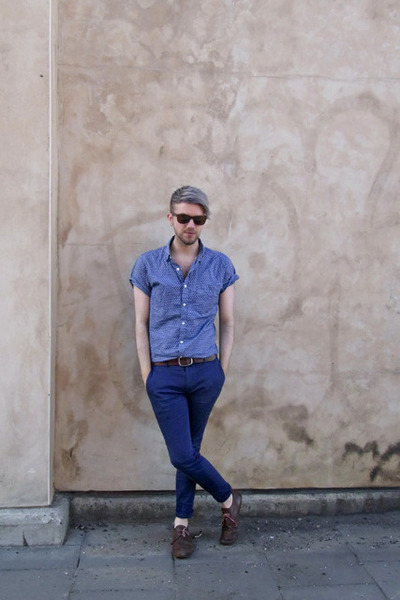 brown vintage shoes - blue Topman shirt - bronze River Island sunglasses