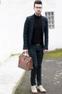 Ivory-asos-shoes-black-sweater-dark-green-zara-blazer-brown-bag