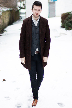 white asos shirt - dark brown Zara coat - black Cheap Monday jeans