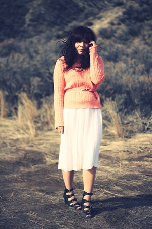 Ralph Lauren sweater - asos wedges - vintage skirt - le mode accessories necklac
