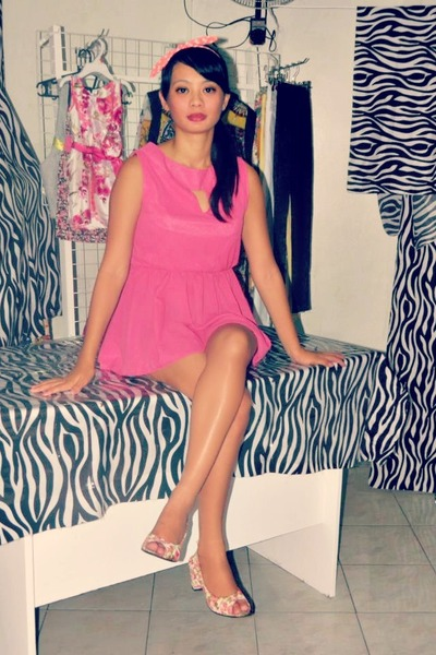 hot pink thrifted heels - bubble gum peplum TaGGed Iloilo dress