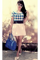blue Sul-ob Moda bag - blue checkered thrifted top - white thrifted skirt