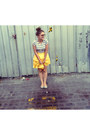 Yellow-little-gracie-skirt-silver-striped-tee-mink-pink-t-shirt-silver-flats