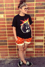 Brown-leopard-print-asos-scarf-carrot-orange-dog-print-shorts