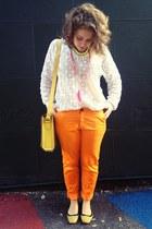 cream crochet Arabella Ramsay jumper - chartreuse Misano flats