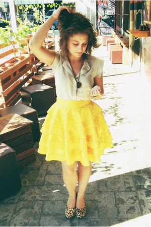 yellow silk ruffle Little Gracie skirt - camel dress