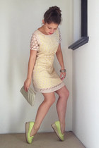beige cut out ELLIATT dress - chartreuse espadrilles Misano heels