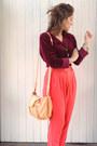 Maroon-velvet-op-shopped-blouse-hot-pink-forever-21-pants