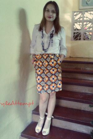 orange Zara skirt - cream AsianVogue wedges - white Forever21 top