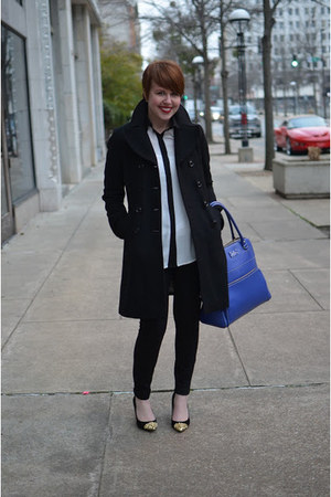 Zara pumps - black wool Guess coat - blueberry kate spade bag - JCrew pants