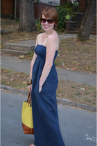 navy dejavu dress - mustard tote Forever 21 bag