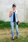 Ripped-jeans-black-wallet-light-blue-denim-vest-toetip-pumps