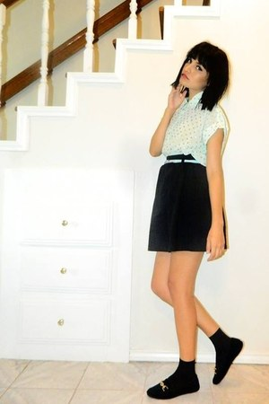 light blue collar blouse - black skirt - light blue skinny belt