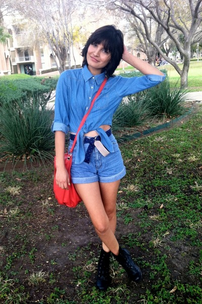 military boots - tote bag - shorts - flag belt - denim buttonup top
