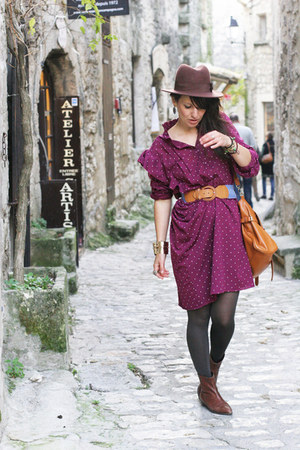 magenta dots vintage dress - tawny Ebay bag - brown hat H&M accessories