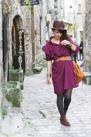 magenta dots vintage dress - tawny Ebay bag - brown hat H&M accessories