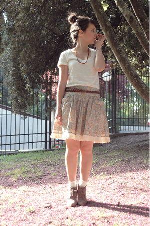 beige Topshop accessories - beige Mango skirt - beige Mango t-shirt