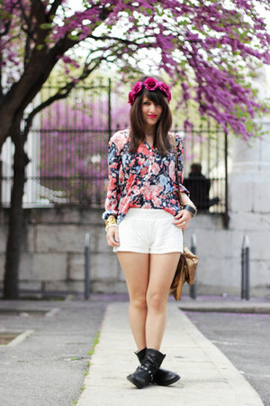 blue Zara shirt - white H&amp;M shorts