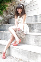 carrot orange hm shoes - white TheScarletRoom dress - tan Top Shop accessories -