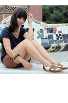 blue Zara t-shirt - brown Stradivarius shoes - brown Stradivarius shoes