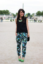 black Samsoe & Samsoe top - teal beginning boutique pants
