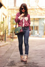 Blue-cheap-monday-jeans-magenta-chicwish-shirt-green-jeffrey-campbell-wedges