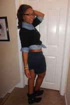 black ankle boots - sky blue denim shirt - navy bermuda shorts - black cardigan