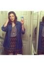 Heather-gray-cotton-shirt-navy-denim-shirt-brown-skirt-nude-heels