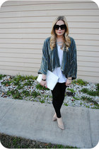 teal Zara cape - beige Zara shoes - black American Apparel leggings