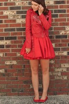 red studded jacket - hot pink dress - red flats