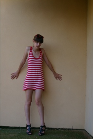 red striped Country Road dress - black frink I love Billy shoes